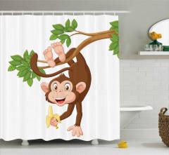 Muz ve Maymun Desenli Duş Perdesi Çocuk İçin