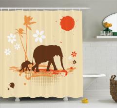 Fil ve Yavrusu Desenli Duş Perdesi Kız İçin