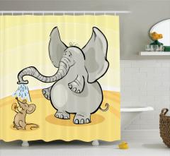 Fil ve Fare Desenli Duş Perdesi Çocuklar İçin