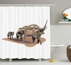 Fil ve Ağaç Desenli Duş Perdesi Safari Etkili