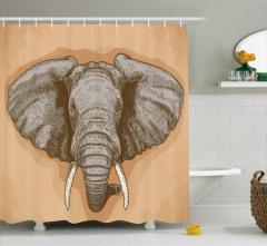 Fil Gravürü Desenli Duş Perdesi Kahverengi