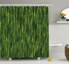 Yeşil Bambu Desenli Duş Perdesi Şık Dekoratif