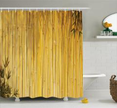 Sarı Bambu Desenli Duş Perdesi Şık Dekoratif