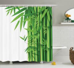 Yeşil Bambu Temalı Duş Perdesi Şık Dekoratif