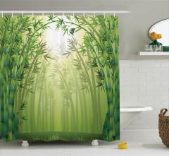 Bambu Ormanı Desenli Duş Perdesi Sarı Yeşil