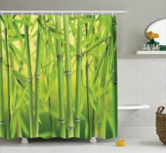 Dekoratif Bambu Desenli Duş Perdesi Yeşil