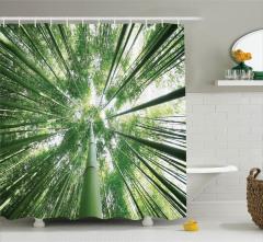 Bambu Ağaçları Desenli Duş Perdesi Şık Tasarım