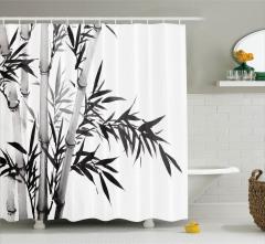 Siyah Beyaz Bambu Desenli Duş Perdesi Şık