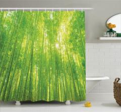 Bambu Ağacı Desenli Duş Perdesi Yeşil Sarı