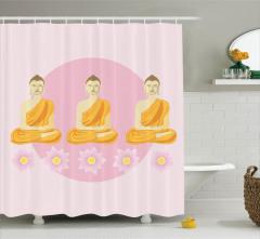 Buda ve Lotus Desenli Duş Perdesi Dini Temalı
