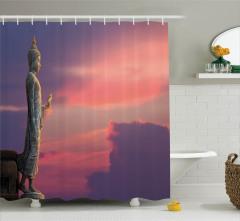 Buda ve Gökyüzü Temalı Duş Perdesi Dini Etkili