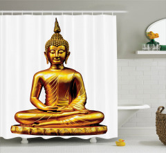 Altın Buda Heykeli Temalı Duş Perdesi Hint