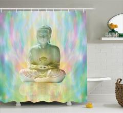 Buda ve Meditasyon Temalı Duş Perdesi Hint