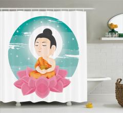 Lotus ve Buda Desenli Duş Perdesi Meditasyon