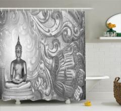 Buda Heykeli Temalı Duş Perdesi Gümüş Trend