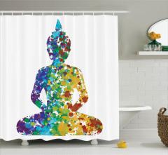 Rengarenk Buda Desenli Duş Perdesi Şık Tasarım