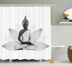 Buda ve Lotus Desenli Duş Perdesi Şık Tasarım