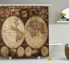 Antik Dünya Haritası Duş Perdesi Dekoratif