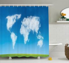 Bulut Dünya Haritası Desenli Duş Perdesi Mavi