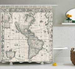 Antik Amerika Haritası Desenli Duş Perdesi Şık