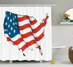 ABD Bayrağı Desenli Duş Perdesi ABD Şekilli