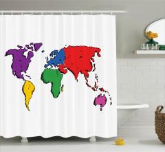 Rengarenk Kıtalar Desenli Duş Perdesi Beyaz