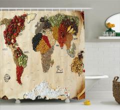 Dünya Haritası Desenli Duş Perdesi Baharatlı