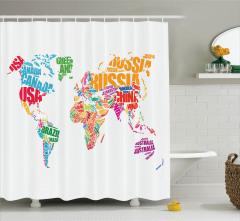 Rengarek Ülke İsmi Temalı Duş Perdesi Harita