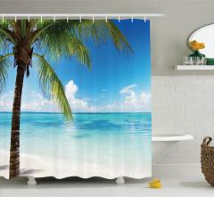 Tropik Ada Temalı Duş Perdesi Mavi Okyanus Palmiye