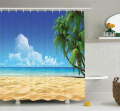 Tropikal Kumsal Temalı Duş Perdesi Okyanus Mavi Sarı