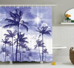 Tropikal Ada Temalı Duş Perdesi Egzotik Palmiye Mor