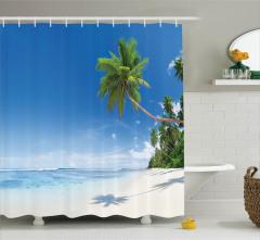 Kumsalda Okyanus Dalgalı Duş Perdesi Tropikal Ada