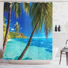 Tropik Ada Temalı Duş Perdesi Palmiye Mavi Yeşil