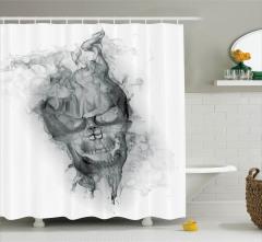 Duman ve Kuru Kafa Desenli Duş Perdesi Beyaz