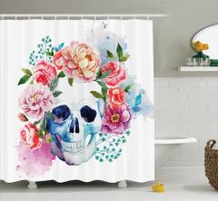 Sulu Boya Kuru Kafa Desenli Duş Perdesi Çiçek
