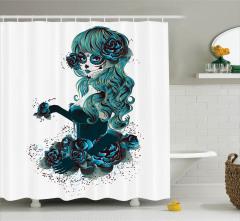 Mavi Güzel Kız Desenli Duş Perdesi Anime Tarzı