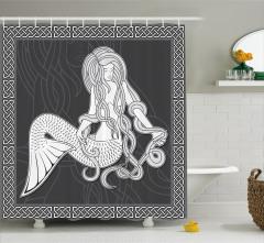 Deniz Kızı Desenli Duş Perdesi Siyah Beyaz Efsane