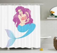 Çocuklar için Duş Perdesi Deniz Kızı Desenli Pembe