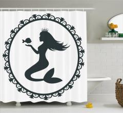 Deniz Kızı ve Balık Desenli Duş Perdesi Siyah Beyaz