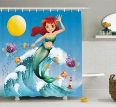 Çocuklar için Duş Perdesi Deniz Kızı ve Balıklar