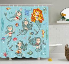 Çocuklar için Duş Perdesi Sevimli Deniz Kızı Mavi