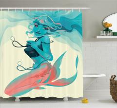 Gotik Deniz Kızı Desenli Duş Perdesi Mavi Pembe