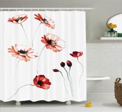 Suluboya Resmi Etkili Duş Perdesi Romantik Çiçekler