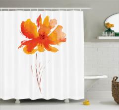 Suluboya Resmi Etkili Duş Perdesi Turuncu Çiçek Şık
