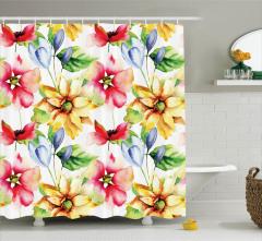 Rengarenk Çiçek Desenli Duş Perdesi Romantik Retro