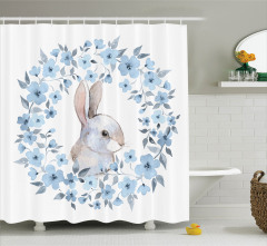 Çocuklar için Duş Perdesi Tavşan ve Çiçekler Mavi