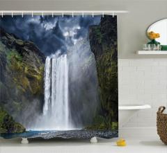 Şelale Manzaralı Duş Perdesi Doğal Cennet Temalı