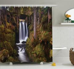 Doğada Gezinti Temalı Duş Perdesi Köprü Şelale Yeşil