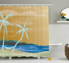 Palmiye ve Kumsal Desenli Duş Perdesi Modern