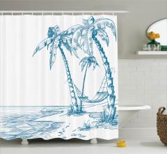 Palmiye ve Sahil Desenli Duş Perdesi Mavi